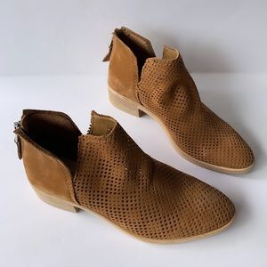 Shoes - Tan perforated ankle bootie, side v-cut NWT